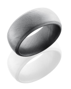 Damascus Steel 10mm Domed Band with Beveled Edges