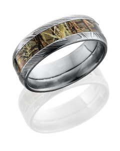 Damascus Steel 8mm domed band with 4mm Real Tree Max4 Camo