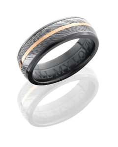 Zirconium 7mm Domed Band with 5mm Damascus Steel and 1mm 14K Rose Gold inlays