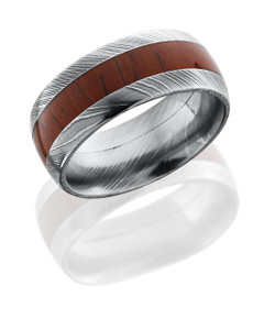 Damascus Steel 9 mm domed band with natural African Padauk wood inlay.