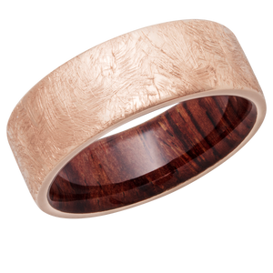 14K Rose Gold 8mm Flat Rounded band with Natcoco Hardwood sleeve.