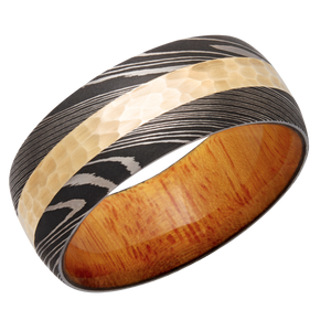 Damascus Steel 9mm Domed Band with 3mm 14K Yellow Gold inlay and Osage Orange Hardwood sleeve.