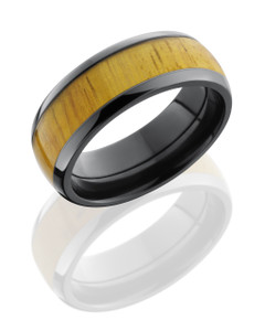 Zirconium 8 mm domed band with natural Osage Orange wood inlay.