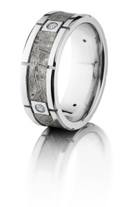 Platinum 8mm beveled band with meteorite inlay with 4 segments and diamond accents