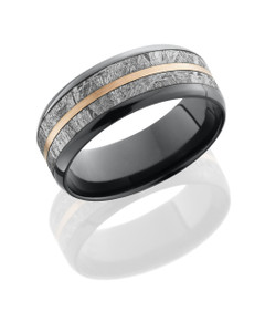Zirconium 8mm beveled band with 5mm meteorite inlay and 1mm 14KR center