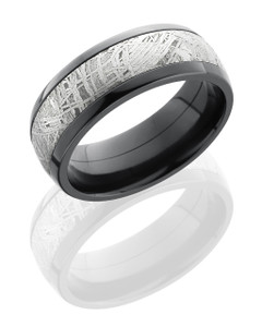 Zirconium 8mm Domed Band with 5mm Meteorite