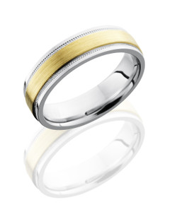 Titanium 6mm Flat Band with Grooved Edges, Milgrain, and 3mm 14K Yellow Gold inlay