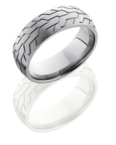 Titanium 8mm Domed Band with Tire Tread Pattern