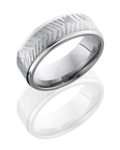 Titanium 8mm Flat Band with Grooved Edges
