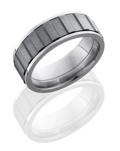 Titanium 8mm Flat, Spinner Band with Gear Pattern