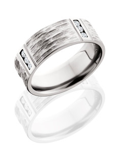 Titanium 8mm Flat Band with Segmented Pattern and Twelve .03ct Channel Set Diamonds - TCW .36