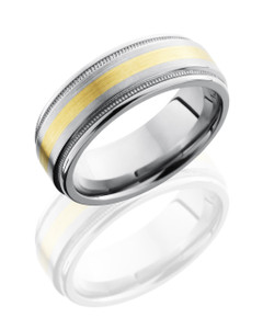 Titanium 8mm Flat Band with Rounded Edges, Milgrain, and 2mm 14KY