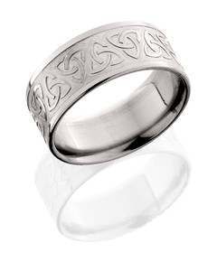 Titanium 9mm flat band with celtic pattern