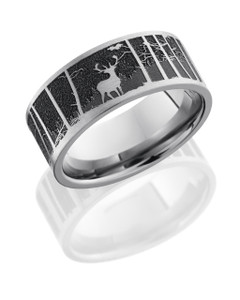 Titanium 9mm flat band with a laser carved elk pattern with mountain background