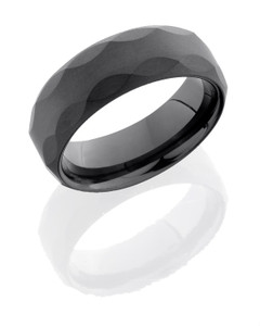 Tungsten Ceramic 8mm Flat Band with Beveled Edges and Facet Pattern
