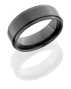 Tungsten Ceramic 8mm Flat Band with Grooved Edges