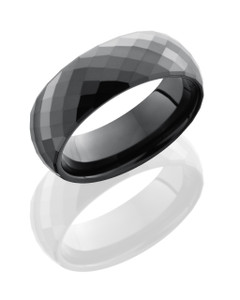 Ceramic 6mm Domed Band with Beveled Edges and Facets