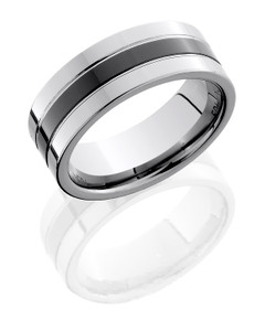 Tungsten and Ceramic 8mm Flat Band with Grooves