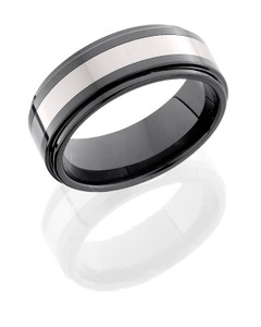 Tungsten and Ceramic 8mm Flat Band with Grooved Edges