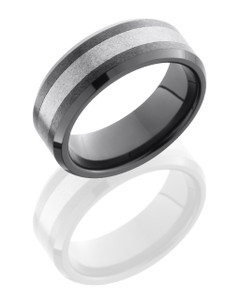 Ceramic and Tungsten 8mm Beveled Band
