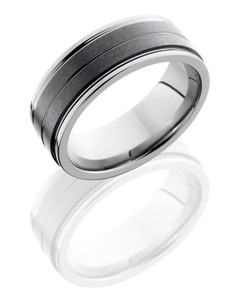 Ceramic and Tungsten 8mm Flat Band