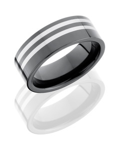 Ceramic and Tungsten 7mm Faceted Band