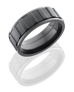 Zirconium 8mm Flat, Spinner Band with Gear Pattern