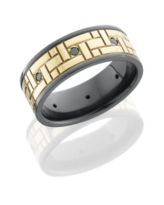 Zirconium 8mm flat band with 6mm 14KY with Versailles pattern and eight .04ct black diamonds