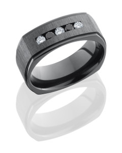 Zirconium 8mm Flat with Grooved Edges and Channel Set White and Black Round Diamonds
