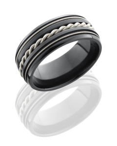 Zirconium 9mm Domed Band with Milgrain and Sterling Silver Braid