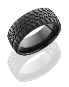Zirconium 9mm domed band with grooved edges