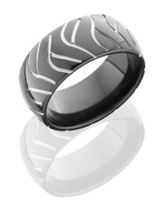 Zirconium 10mm Domed Band with Tire Tread Pattern