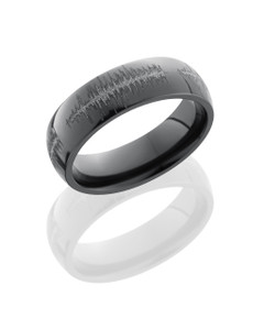 Zirconium 6mm Domed Band with Customized Laser Carved Soundwave