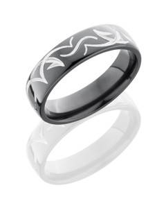 Zirconium 6mm Domed Band with Tribal Pattern