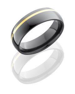 Zirconium 6mm Domed Band with 1mm 14KY