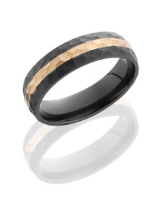 Zirconium 6mm Domed Band with 2mm 14K Rose Gold inlay