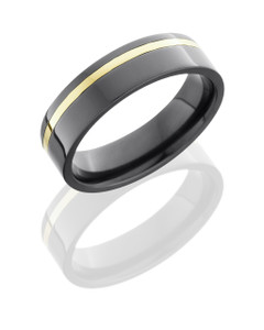 Zirconium 6mm Flat Band with 1mm 14KY