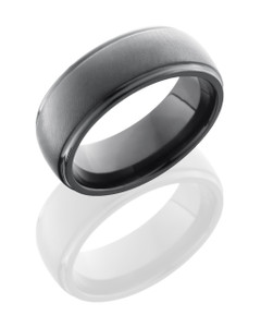 Zirconium 7mm Domed Band with Grooved Edges