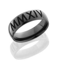 Zirconium 7mm domed band with customized laser carved Roman Numerals