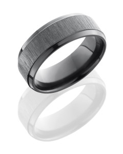 Zirconium 8mm Beveled Band