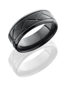 Zirconium 8mm Beveled Band with Weave Pattern