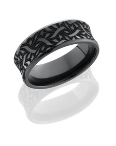 Zirconium 8mm concave beveled band with laser carved Escher 2 design