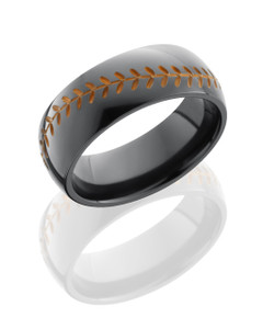 Zirconium 8mm Domed Band with Baseball Pattern