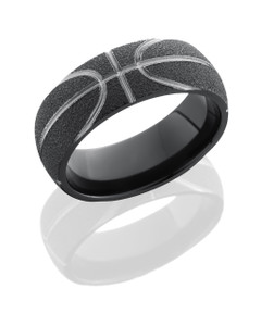 Zirconium 8mm Domed Band with Basketball Pattern