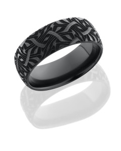 Zirconium 8mm domed band with a laser carved Escher 2 design