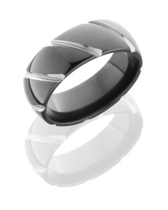 Zirconium 8mm Domed Band with Striped Pattern