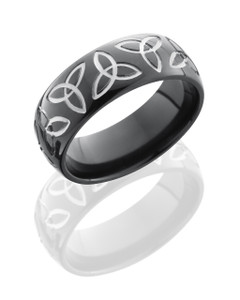Zirconium 8mm Domed Band with Trinity Pattern