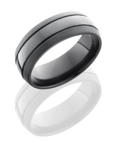 Zirconium 8mm Domed Band with two .5mm Grooves