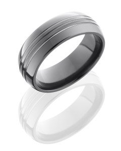 Zirconium 8mm Domed Band with three .5mm Grooves
