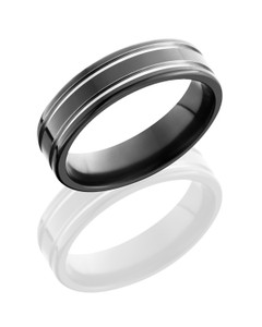 Zirconium 6mm band with grooves